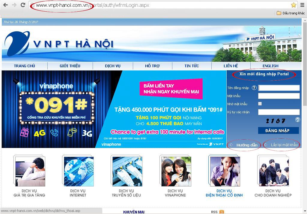 Hướng dẫn tải hóa đơn cước VNPT Vinaphone trên website