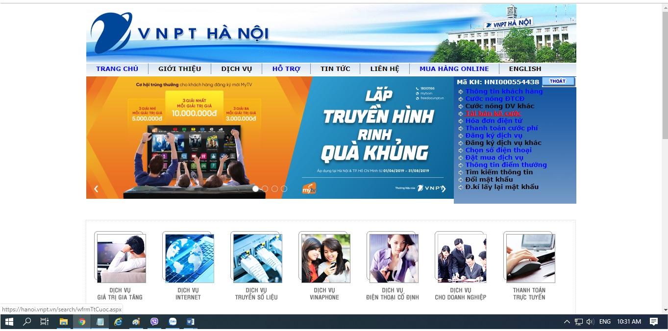 Hướng dẫn tải bản kê cước dịch vụ viễn thông của VNPT tại Hà Nội