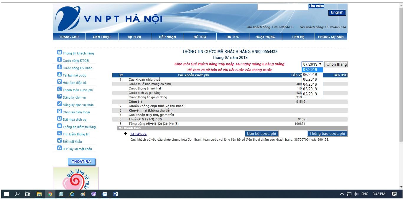 Hướng dẫn xem chi tiết cuộc gọi điện thoại cố định VNPT và vinaphone trả sau tại Hà Nội